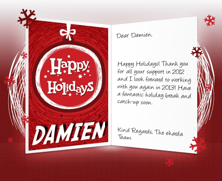 Professional happy holidays ecards for business corporates happy holidays image of business ecard with hand drawn bauble m4hsunfo