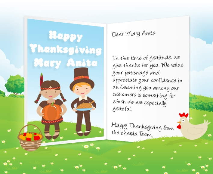 Ecards for business happy holidays thanksgiving halloween image of thanksgiving business ecard with pilgrims reheart Image collections