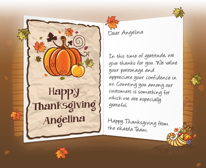 Image of thanksgiving business ecard with pumpkins amp cornucopia