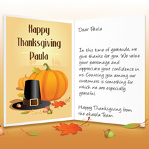 Image of Thanksgiving Business eCard with Pilgrim Hat