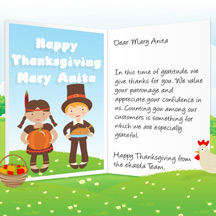 Image of Thanksgiving Business eCard with Pilgrims