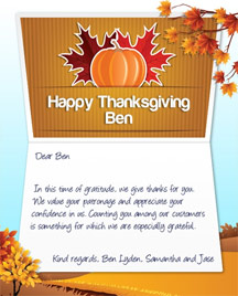 Image of Thanksgiving Business eCard with Pumpkins & Leaves