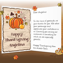 Image of Thanksgiving Business eCard with Pumpkins & Cornucopia