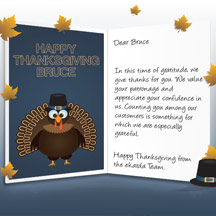 Image of Thanksgiving Business eCard with Turkey and Leaves