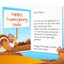 Image of Thanksgiving Business eCard with Turkey and Sign