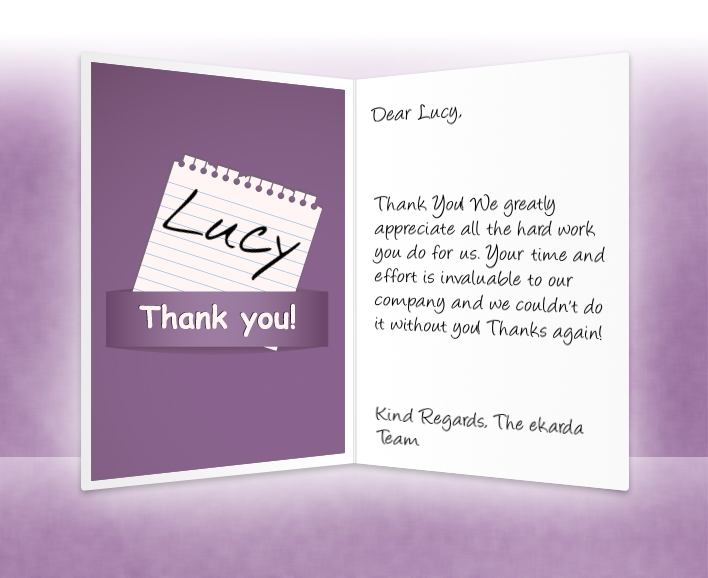 Large Image of Thank you Business eCard with Purple Note