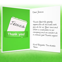 Image of Thank you Business eCard with Green Note