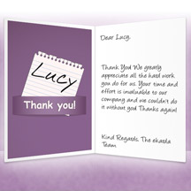 Image of Thank you Business eCard with Purple Note