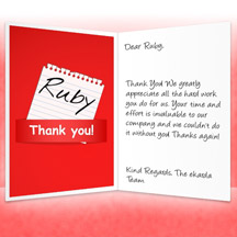 Image of Thank you Business eCard with Red Note