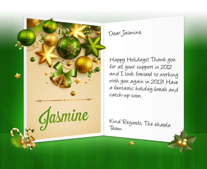 Image Of Business Christmas Holidays ECard With Baubles And Stars  Christmas Greetings Sample