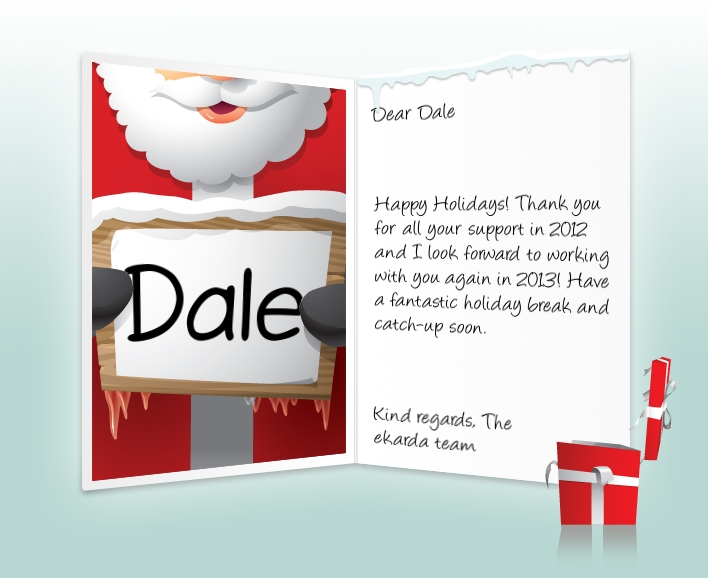 Professional christmas ecards for business image of business christmas holidays ecard with santa with sign colourmoves