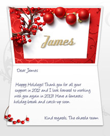 Image of Business Christmas Holidays eCard with Berries and Baubles
