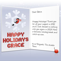 Image of Business Christmas Holidays eCard with Bird in Snowflake