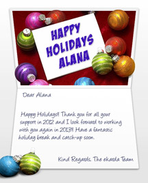 Image of Business Christmas Holidays eCard with Card and Balls