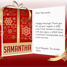 Image of Business Christmas Holidays eCard with Golden Gift