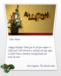 Image of Business Christmas Holidays eCard with Gold wall
