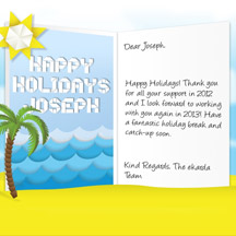 Image of Business Christmas Holidays eCard with Origami Beach