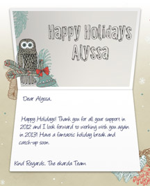Image of Business Christmas Holidays eCard with Owl and Bells