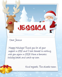 Image of Business Christmas Holidays eCard with Reindeer and Santa