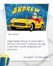 Image of Business Christmas Holidays eCard with Santa in Car