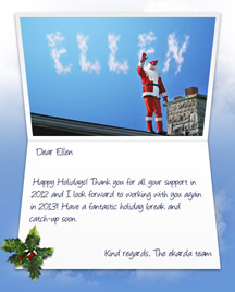 Image of Business Christmas Holidays eCard with Santa on a Roof