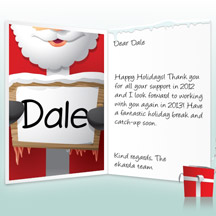 Image of Business Christmas Holidays eCard with Santa with Sign