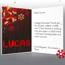 Image of Business Christmas Holidays eCard with Snowflakes and Wood