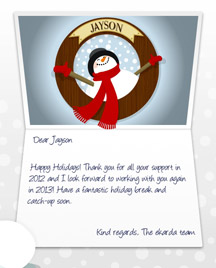 Image of Business Christmas Holidays eCard with Snowman Porthole
