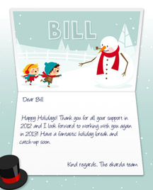 Image of Business Christmas Holidays eCard with Snowman and Kids