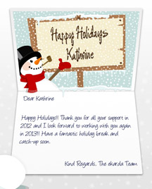 Image of Business Christmas Holidays eCard with Snowman and Sign