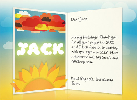 Happy Holidays Environmental eCard for Business with Sun and Flowers